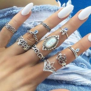 10 piece silver and opal boho midi ring set